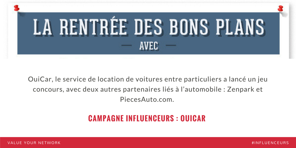 Campagne marketing influenceurs : OuiCar
