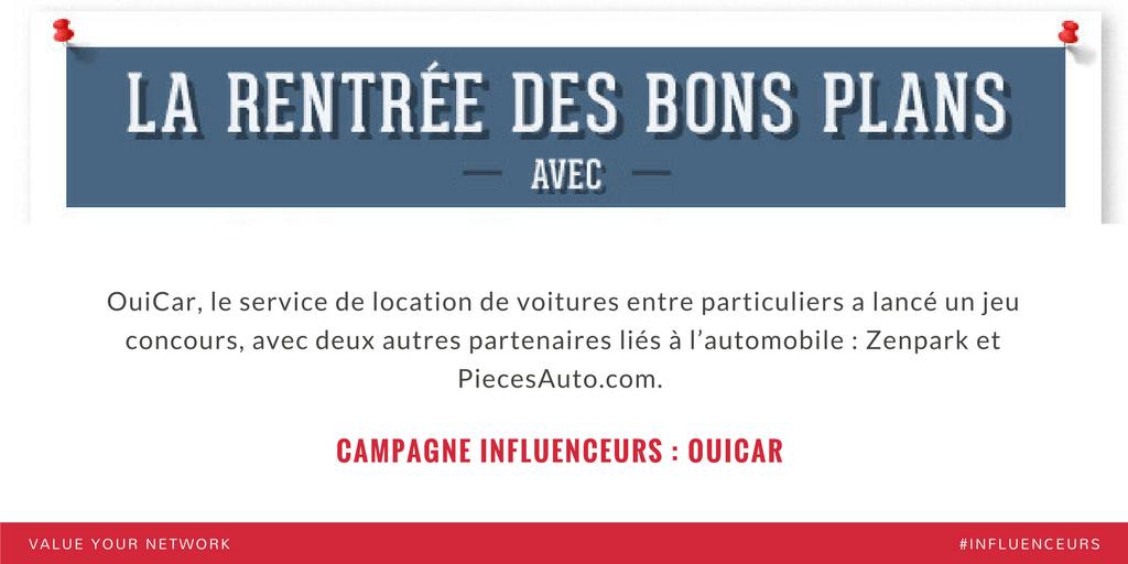 Campagne marketing influenceurs : OuiCar