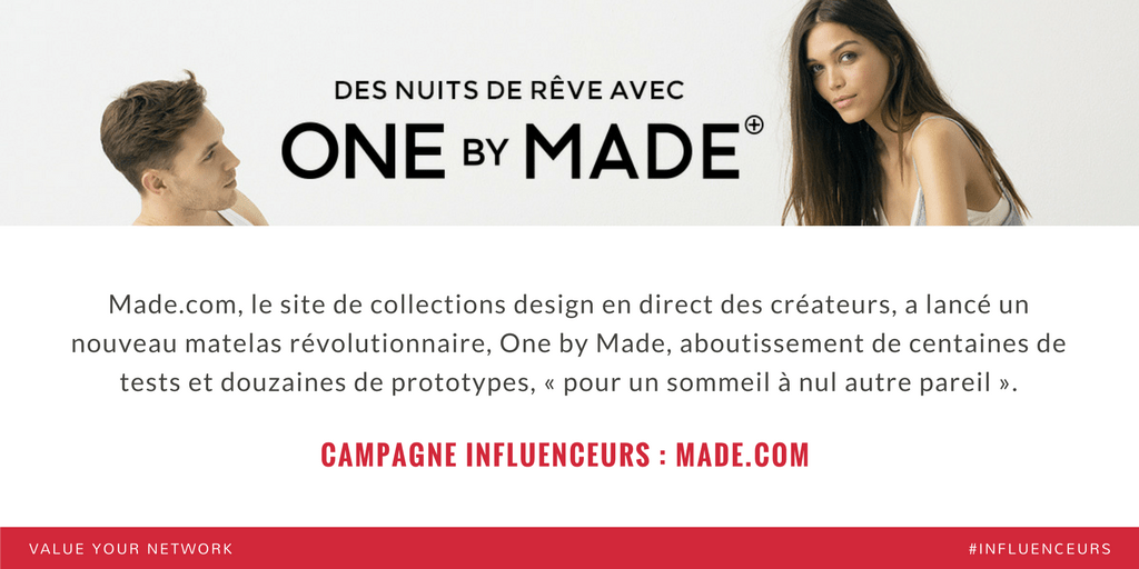 Campagne marketing influenceurs : Made.com