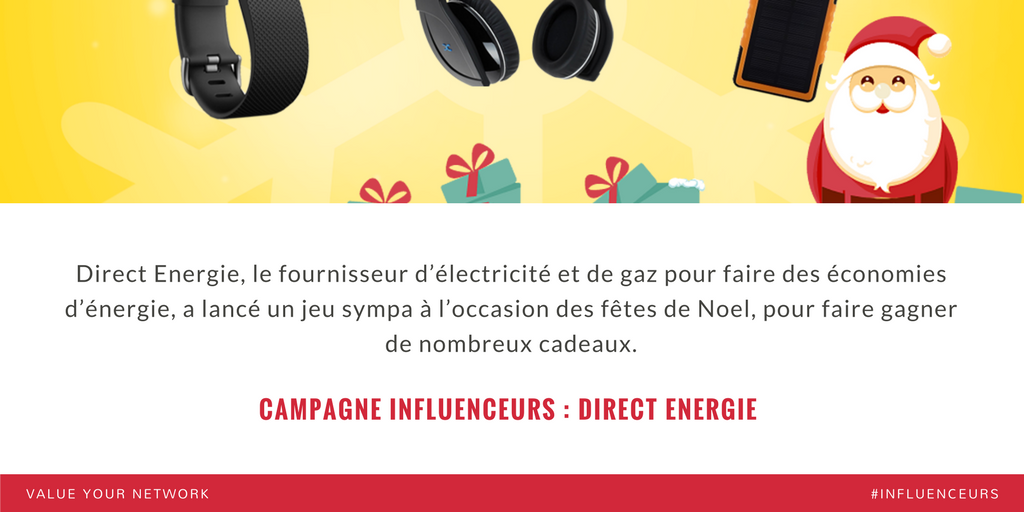Campagne marketing influenceurs : Direct Energie